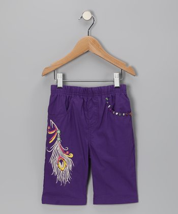 Purple Peacock Cropped Pants - Girls