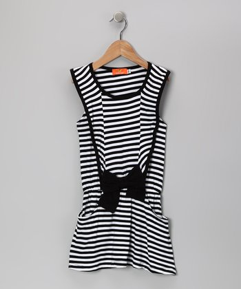 Black Stripe Bow Dress - Girls
