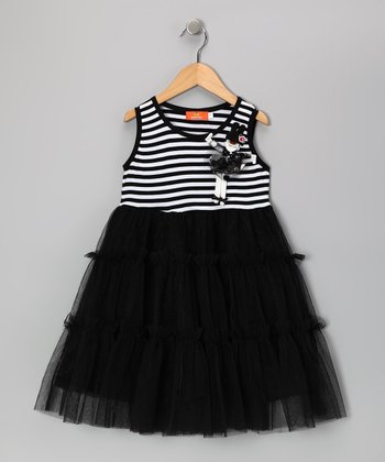 Black Stripe Ruffle Empire-Waist Dress - Girls
