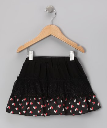 Black & White Heart Tiered Skirt - Girls