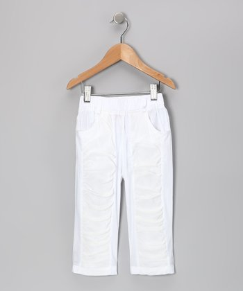 White Panel Pants - Girls