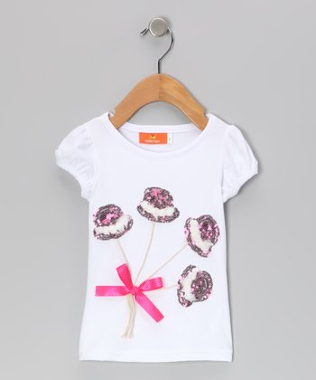White Sequin Top Hat Tee - Toddler & Girls