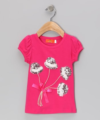 Hot Pink Sequin Top Hat Tee - Toddler & Girls