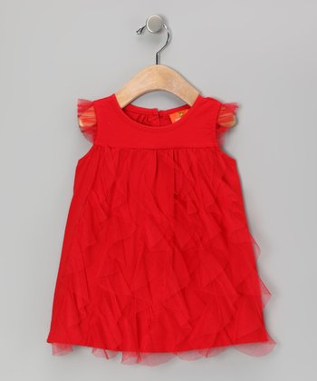 Red Ruffle Swing Top - Girls