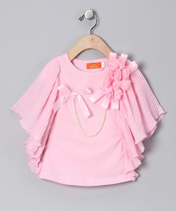 Light Pink Cape-Sleeve Top - Toddler & Girls