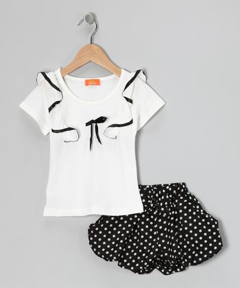 White Ribbon Top & Polka Dot Skirt - Girls