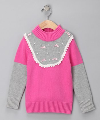 Pink & Gray Two-Tone Knit Sweater - Toddler & Girls