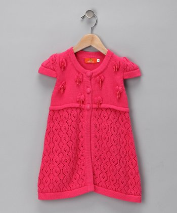 Dark Pink Knit Dress - Girls