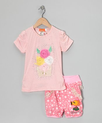 Pink Pin Dot Rosette Top & Shorts - Toddler & Girls