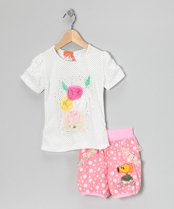 White Pin Dot Rosette Top & Pink Shorts - Toddler & Girls