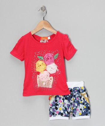Red Pin Dot Rosette Top & Blue Shorts - Toddler & Girls