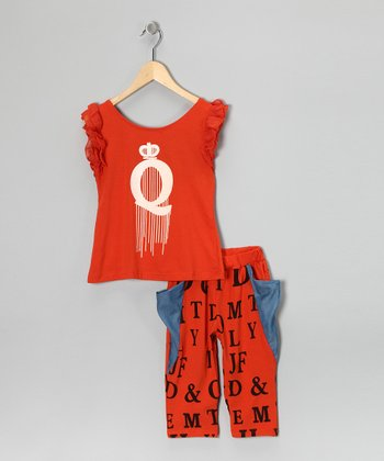 Red 'Q' Top & Pants - Girls