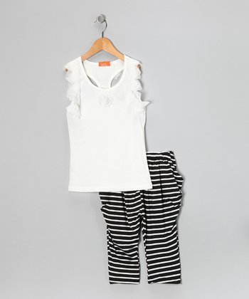 White Heart Tank & Stripe Pants - Girls