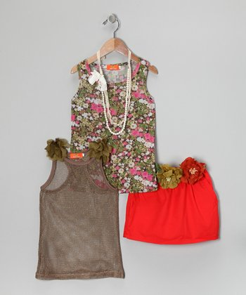 Brown & Orange Floral Silk-Blend Skirt Set - Girls