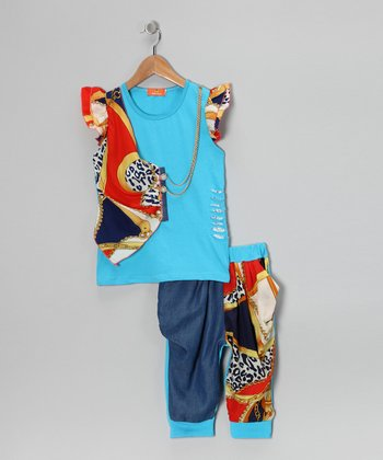 Blue & Orange Vest Angel-Sleeve Top & Pants - Girls