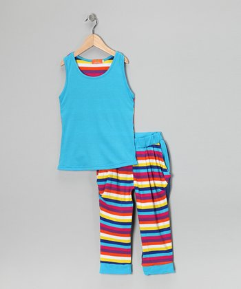 Blue Stripe Tank & Pants - Girls