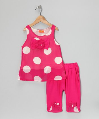 Pink Polka Dot Bow Tank & Pants - Girls