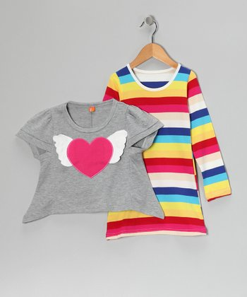 Gray Heart Top & Stripe Long-Sleeve Dress - Toddler & Girls
