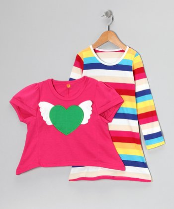 Pink Heart Top & Stripe Long-Sleeve Dress - Toddler & Girls