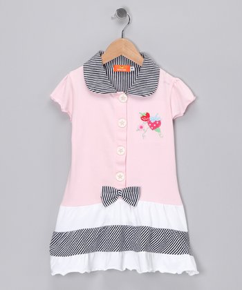 Pink Strawberry Shirt Dress - Girls