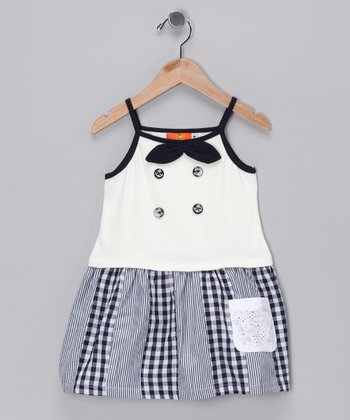 White & Black Bow Double-Breasted Dress - Girls