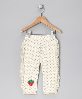 White Ruffle Capri Leggings - Girls