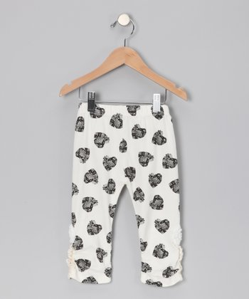 White Heart Capri Leggings - Girls