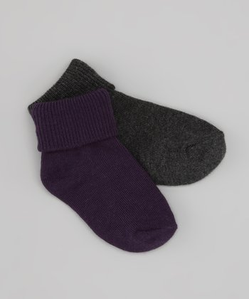 Eggplant & Charcoal Fold-Over Socks Set