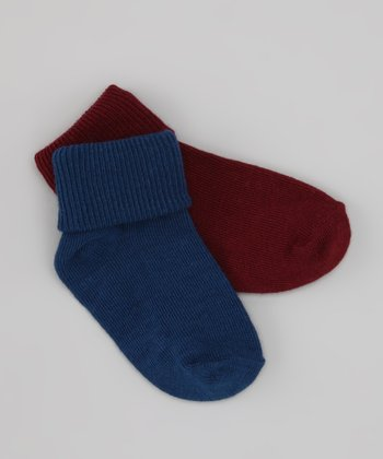 Wine & Denim Fold-Over Socks Set