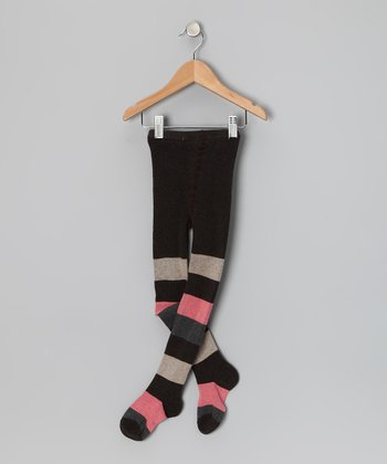 Black, Gray & Pink Wide Stripe Tights