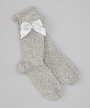 Light Gray Satin Bow Ankle Socks