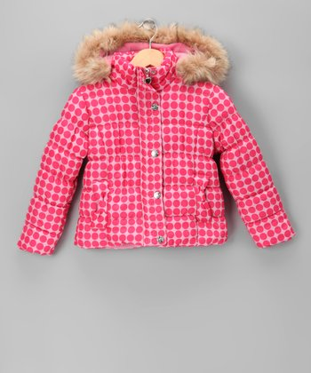 Pink Polka Dot Quilted Coat - Girls