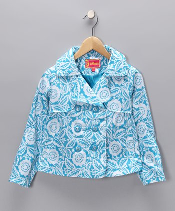 Vivid Blue Marbella Peacoat - Girls