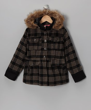 Black Plaid Pocket Hooded Coat - Girls