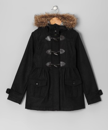 Black Toggle Peacoat - Toddler