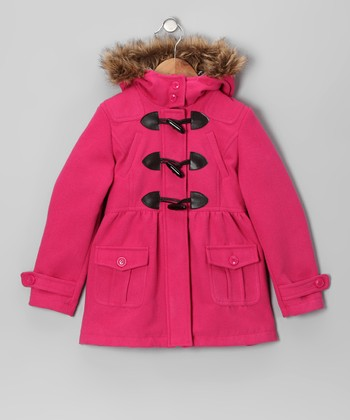 Fuchsia Toggle Peacoat - Toddler & Girls