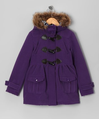 Purple Toggle Peacoat - Toddler & Girls