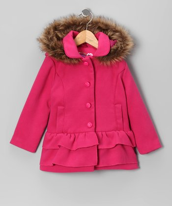 Fuchsia Ruffle Coat - Toddler & Girls