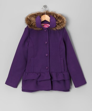 Purple Ruffle Coat - Toddler & Girls