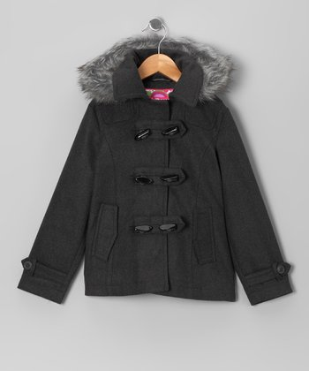 Charcoal Toggle Coat - Girls