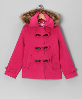 Fuchsia Toggle Coat - Toddler