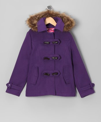 Purple Toggle Coat - Girls
