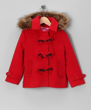 Red Toggle Coat - Girls