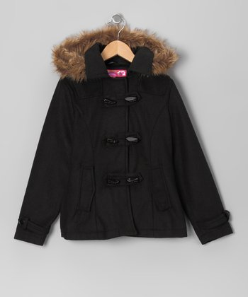 Black Toggle Coat - Girls