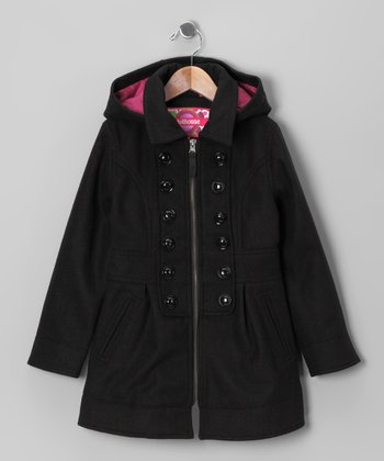 Black Button Hooded Coat - Toddler