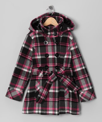 Black & Raspberry Plaid Double-Breasted Belted Coat - Toddler