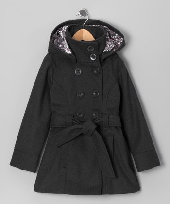 Charcoal Double-Breasted Belted Coat - Toddler & Girls