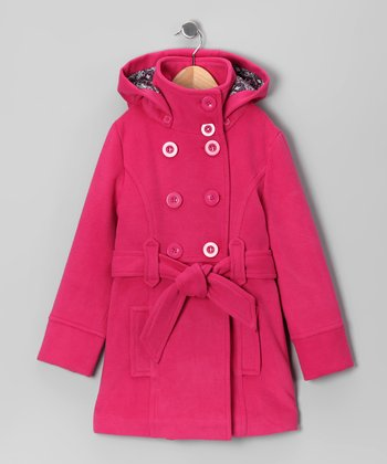 Fuchsia Double-Breasted Belted Coat - Toddler