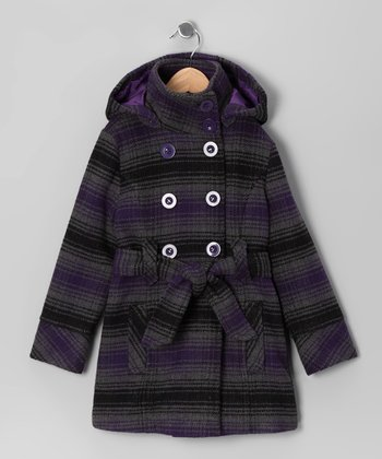 Charcoal & Purple Plaid Double-Breasted Belted Coat - Toddler & Girls