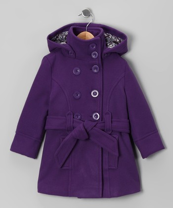 Purple Double-Breasted Belted Coat - Toddler & Girls